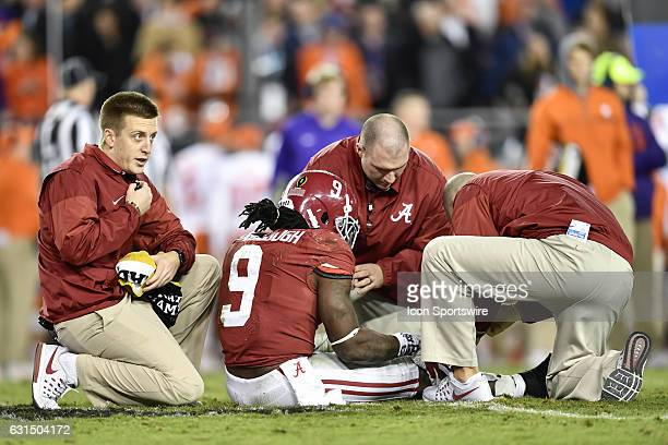 University of Alabama running back Bo Scarbrough is injured and leaves the game with a broken leg during the second half of the CFP National...
