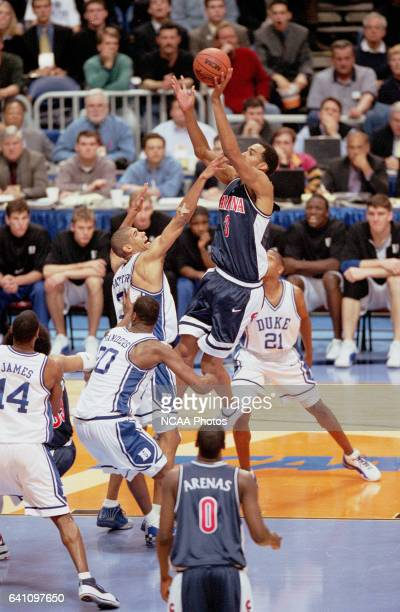 University of Arizona center Loren Woods and Duke forward Shane Battier along with guard/forward Nate James center Casey Sanders and guard Chris...