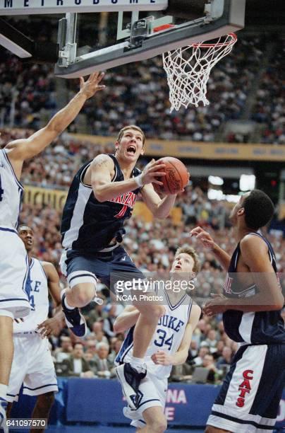 University of Arizona forward Luke Walton and Duke University guard/forward Mike Dunleavy during the NCAA Men's Basketball Final Four Championship...