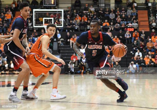 University of Arizona senior guard Kadeem Allen dribbles up court during a PAC-12 Conference basketball game between the Oregon State Beavers and...