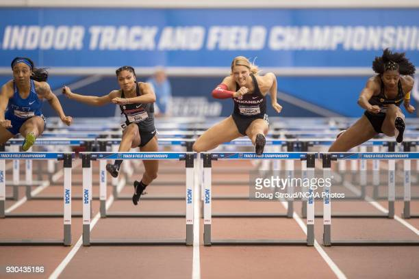 University of Arkansas' Payton Chadwick took 1st in the Womens 60 Meter Hurdles with a 793 beating Tara Davis of Georgia and Anna Cockrell of USC...