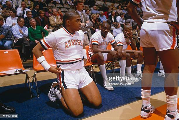 University of Auburn's Center Charles Barkley sits on the sideline during a circa 1980s game
