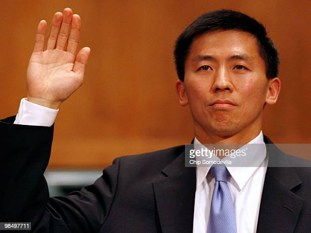 University of California at Berkley Law Professor Goodwin Liu swears an oath of truth before testifying to the Senate Judiciary Committee during his...
