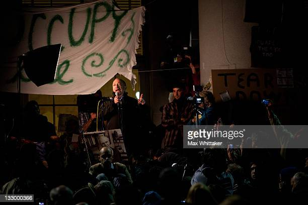 University of California Berkeley Professor Robert Reich speaks to students during a general assembly as part of an 'open university' strike in...