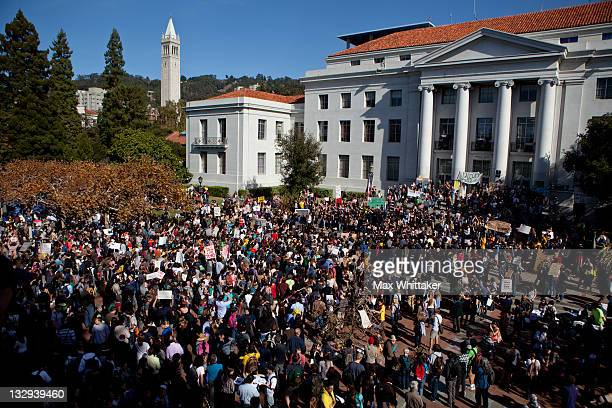 University of California Berkeley students hold an open university strike in solidarity with the Occupy Wall Street movement November 15 2011 in...