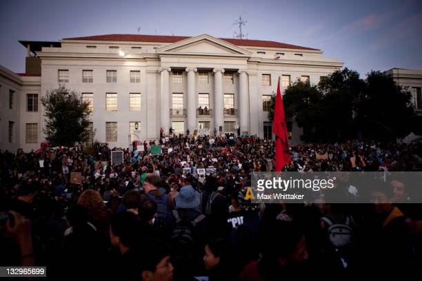 """University of California, Berkeley students protest on campus as part of an """"open university"""" strike in solidarity with the Occupy Wall Street..."""