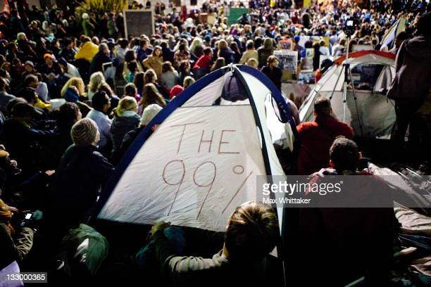 "University of California, Berkeley students set up tents after a general assembly voted to again occupy campus as part of an ""open university"" strike..."