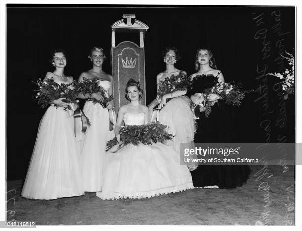 University of California Los Angeles Homecoming Queen and Court 30 October 1951 Queen Evalyne Miller Peggy Fletcher Carol Lee Ladd Sally Forbes...