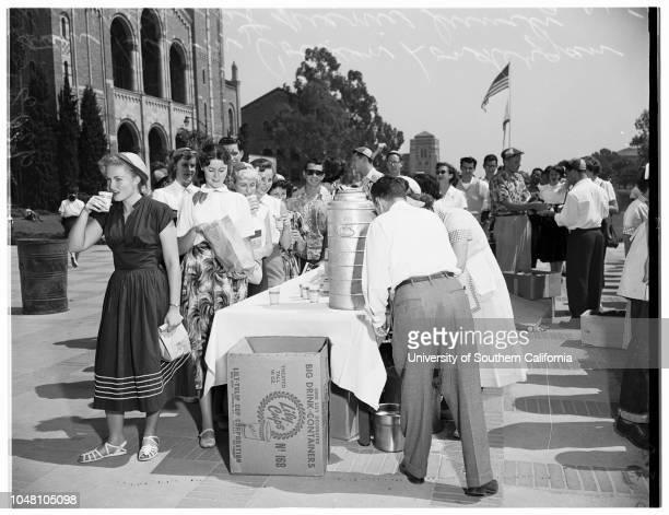 University of California Los Angeles Orientation Day, 21 September 1951. Ruth Joos;Donna Dawes;Joan Baum;Colleen Londergan;Lenore Halpern;Mimi...