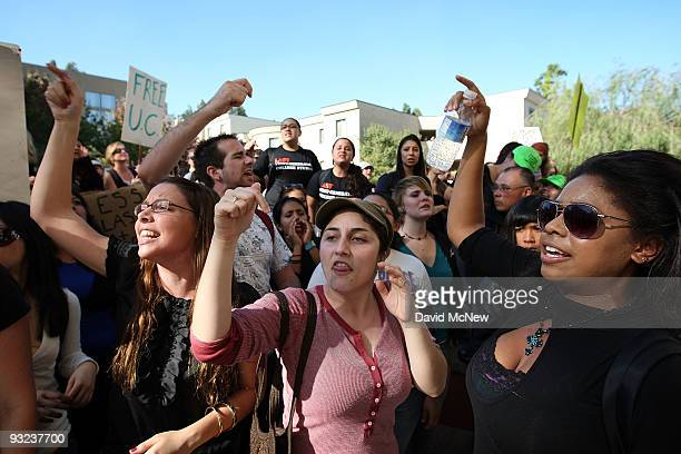 University of California Los Angeles students and supporters protest as the UC Board of Regents votes to approve a 32 percent tuition hike next year...