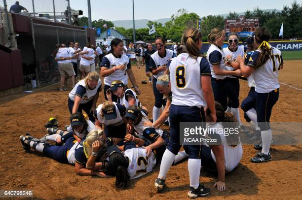 University of California San Diego Tritons celebrate their victory over University of AlabamaHuntsville during the Division II Women's Softball...