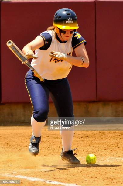 University of California San Diego's Jennifer De Fazio bunts in her teams victory over University of AlabamaHuntsville during the Division II Women's...