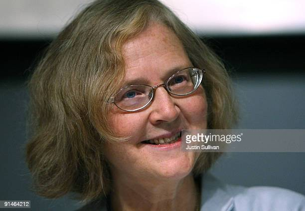 University of California San Francisco scientist Elizabeth Blackburn speaks during a news conference after winning the Nobel Prize in Medicine...