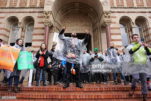 University of California students attend the AntiTrump protest during the inauguration day of President Donald Trump at the university campus in Los...