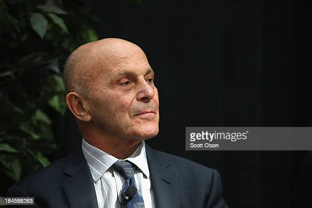 University of Chicago professor Eugene Fama addresses collegues, students and media at the university after learning he had won the Nobel Prize in...