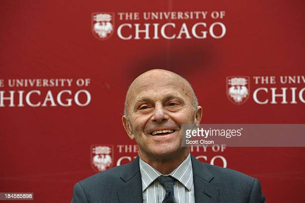 University of Chicago professor Eugene Fama addresses colllegues, students and media at the university after learning he had won the Nobel Prize in...