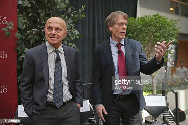 University of Chicago professor Eugene Fama and his U of C colleague Lars Peter Hansen speak to colllegues, students and media at the university...