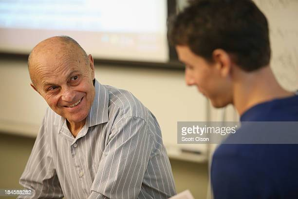University of Chicago professor Eugene Fama speaks to students in his classroom at the university on October 14, 2013 in Chicago, Illinois. Earlier...