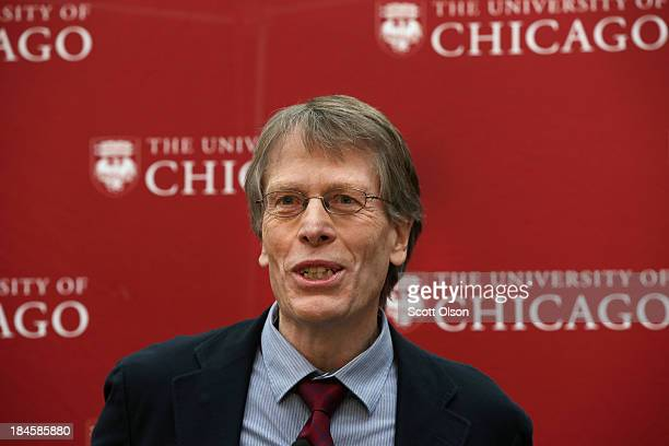 University of Chicago professor Lars Peter Hansen speaks to colleagues, student and reporters after learning he had won the Nobel Prize in Economic...