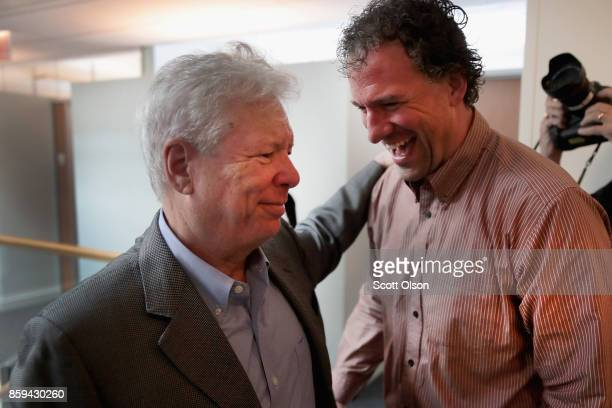 University of Chicago Professor Richard Thaler is congratulated as he arrives at his office after learning he had been awarded the 2017 Sveriges...