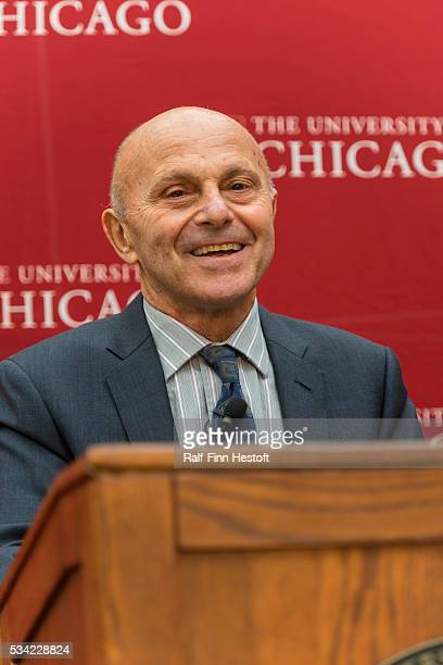 University of Chicago professors Eugene F. Fama, one of three recipiants of the 2013 Nobel Prize in Economics speaks at a news conference at the...