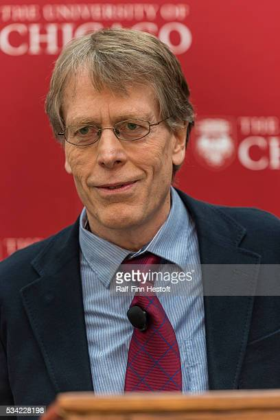 University of Chicago professors Lars Peter Hansen, one of three recipients of the 2013 Nobel Prize in Economics speaks at a news conference at the...