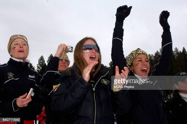 University of Colorado fans and teammates celebrate their first place finish in the Women's 15k classic as part of the Men's and Women's Skiing...