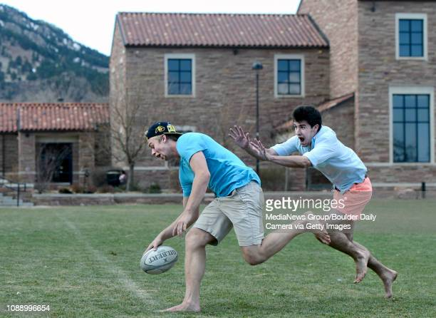 University of Colorado freshman Jay Brown left and Andre Fiorito play some rugby while enjoying the warm weather on Friday March 15 at Farrand Field...
