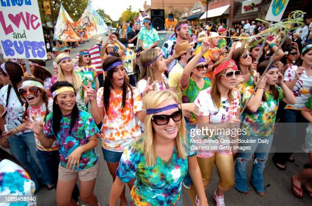 University of Colorado senior Bobbi Ray front middle of Eagle walks and sings with her sorority sister from Kappa Alpha Theta and members of the...