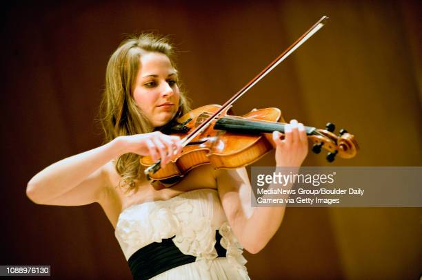 University of Colorado student Stephanie Mientka plays her viola on Friday Feb 25 during a Senior Recital at the Grusin Music Hall in the Imig Music...