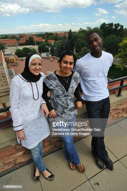 University of Colorado students from left Saira Siraj Amana Malik and Rasheed Lawal are members of the Muslim Students Association and they are...