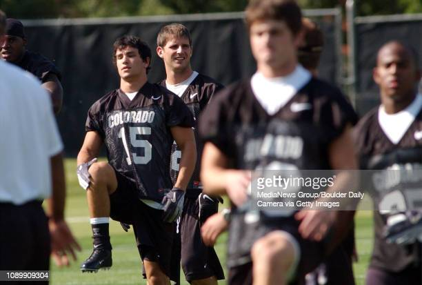 University of Colorado wide receiver Jeremy Bloom stretches out at the start football practice Monday afternoon at the University of Colorado