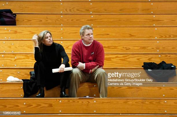 University of Colorado women's basketball head coach Kathy McConnellMiller left and Iowa State women's basketball head coach Bill Fennelly watch...