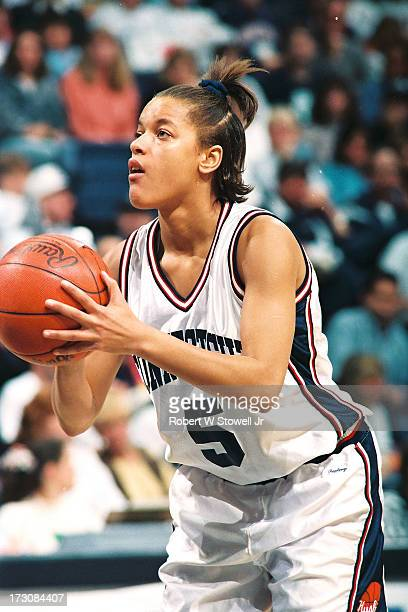 University of Connecticut basketball player Kim Better lines up a free throw at the foul line Storrs Connecticut 1994