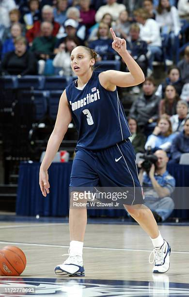 University of Connecticut basketball player of year Diana Taurasi call a play during a game at Gampel Pavilion, Storrs, Connecticut, April 19, 2002.