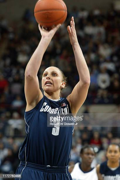 University of Connecticut basketball player of year Diana Taurasi takes a free throw during a game at the Hartford Civic Center Hartford Connecticut...