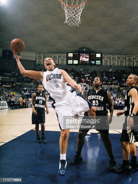 University of Connecticut basketball player of year Diana Taurasi with the ball under the net during a game against Western Michigan University...
