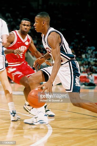 University of Connecticut basketball player Ray Allen with the ball during a game against the Canadian National team, Hartford, Connecticut, 1988.