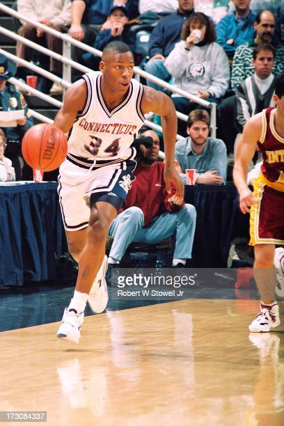 University of Connecticut basketball player Ray Allen with the ball during a game against Winthrop Storrs Connecticut 1994