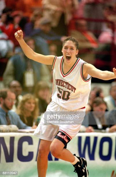 University of Connecticut Huskies star center Rebecca Lobo exults as her team defeats the University of Tennessee Lady Vols to win the NCAA Womens...