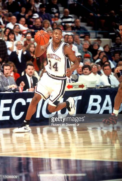 University of Connecticut shooting guard Ray Allen heads up court on fastbreak during a basketball game, Hartford, CT, January 1995.