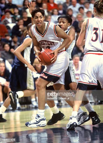 University of Connecticut star Nykesha Sales rebounds against Georgetown Storrs CT 1996
