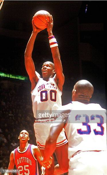 University of Connecticut's Cliff Robinson goes strong to the hoop in a game against the University of Hartford, held in Hartford, CT, 1988.
