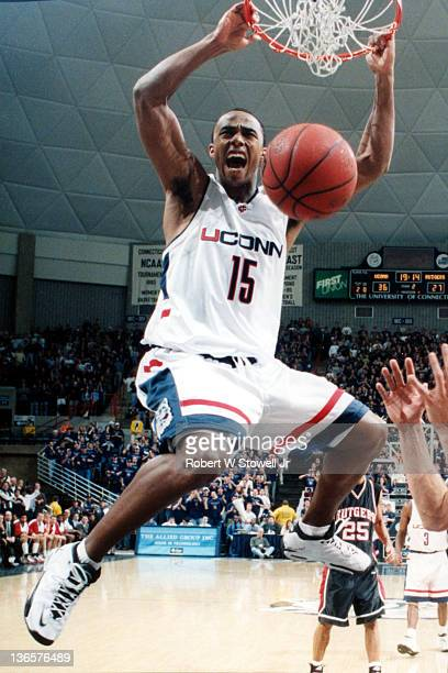 University of Connecticut's Kevin Freeman slams it home with authority during a game at Storrs CT 1999