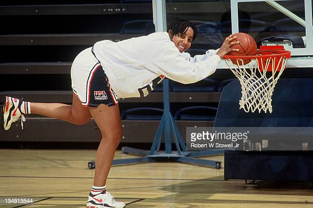 University of Connecticut's Nykesha Sales poses in Team USA uniform Storrs CT 1996
