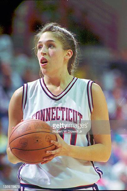 University of Connecticut's Rebecca Lobo pauses at the foul line, Storrs CT 1994.