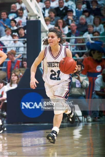 University of Connecticut's star guard Jennifer Rizzotti heads up court Storrs CT 1995