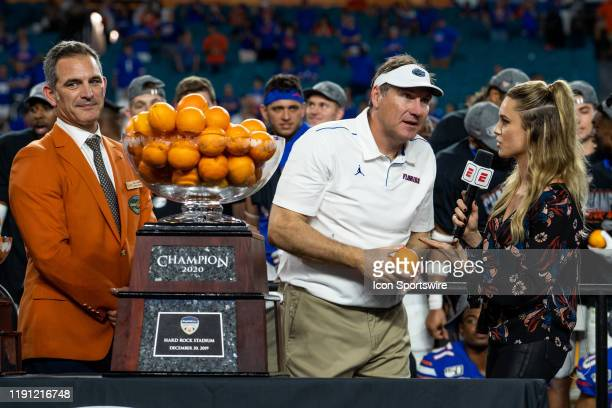University of Florida Gators Coach Dan Mullen is interviewed by ESPN College Sports Reporter Molly McGrath during the Trophy Ceremony after the 2019...