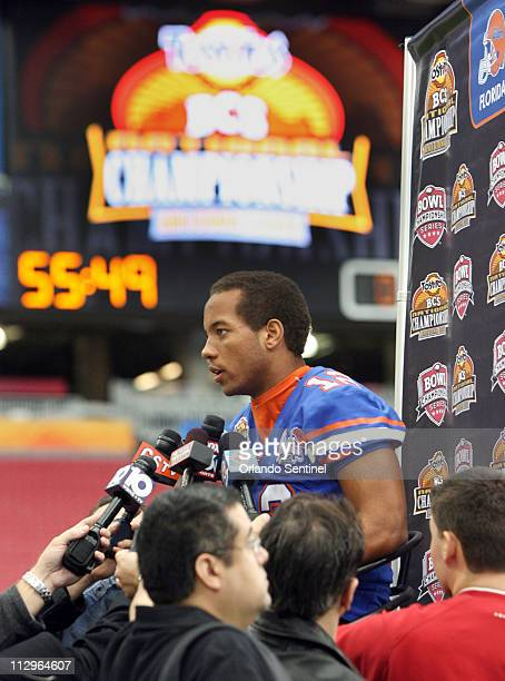 University of Florida quarterback Chris Leak answers questions during the BCS Championship Bowl Game Media Day at the University of Phoenix Stadium...
