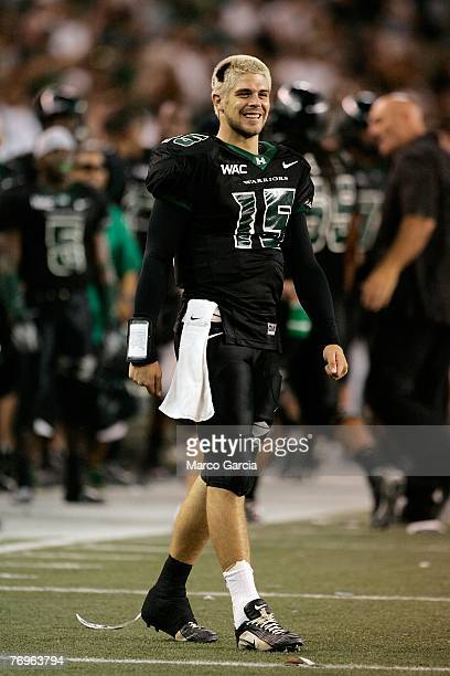 University of Hawaii QB Colt Brennan is seen on the sidelines during their game against the Charleston Southern Buccaneers at Aloha Stadium September...